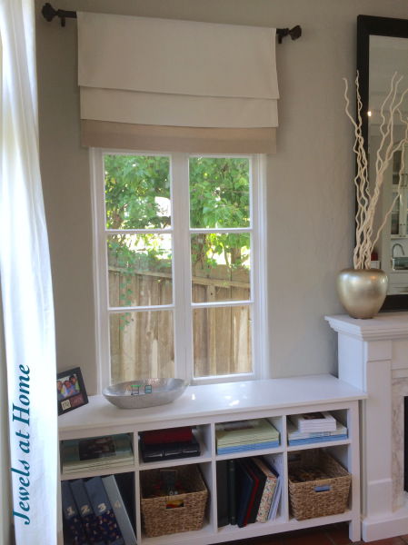 Turn a curtain panel into a fixed faux Roman shade | Jewels at Home
