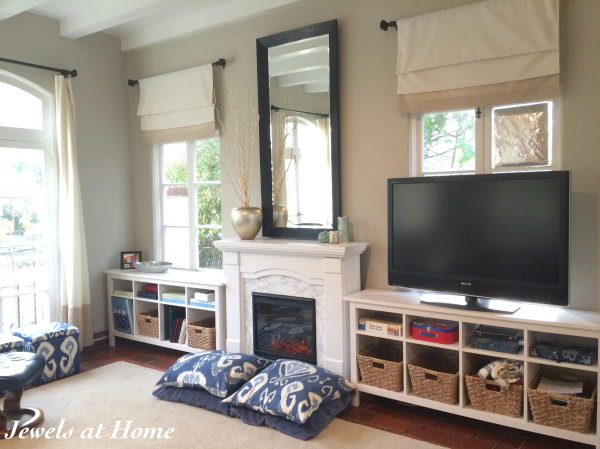 "Tips for ""fake it 'til you make it"" family room built-ins 
