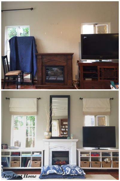 Before and After: DIY Family Room Fireplace and Built-ins | Jewels at Home