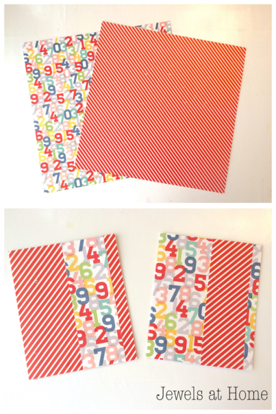 Tip for Quick DIY Greeting Cards! It's quick and easy to turn two sheets of scrapbook paper into four unique greeting cards | Jewels at Home