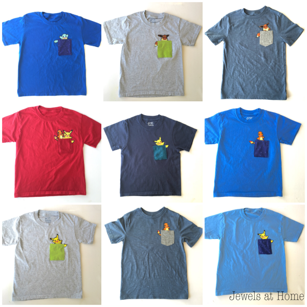 Adorable DIY Pokemon pocket T-shirts! | Jewels at Home