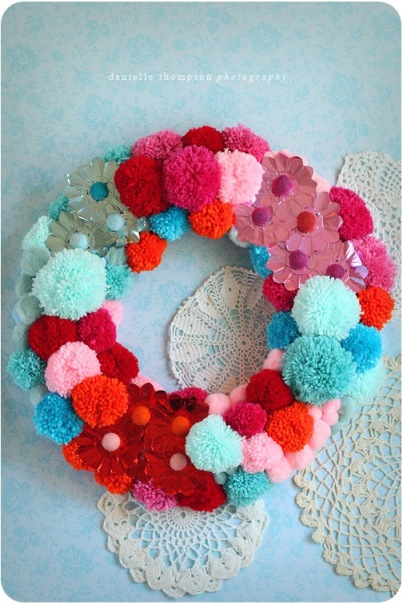 Danielle Thompson's candy-colored pom-pom wreath