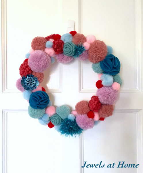 Whimsical and Festive DIY Pom Pom Wreath | Jewels at Home