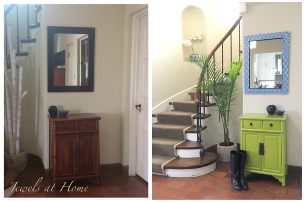 Happy and Bright Painted Foyer Table. Foyer makeover| Jewels at Home
