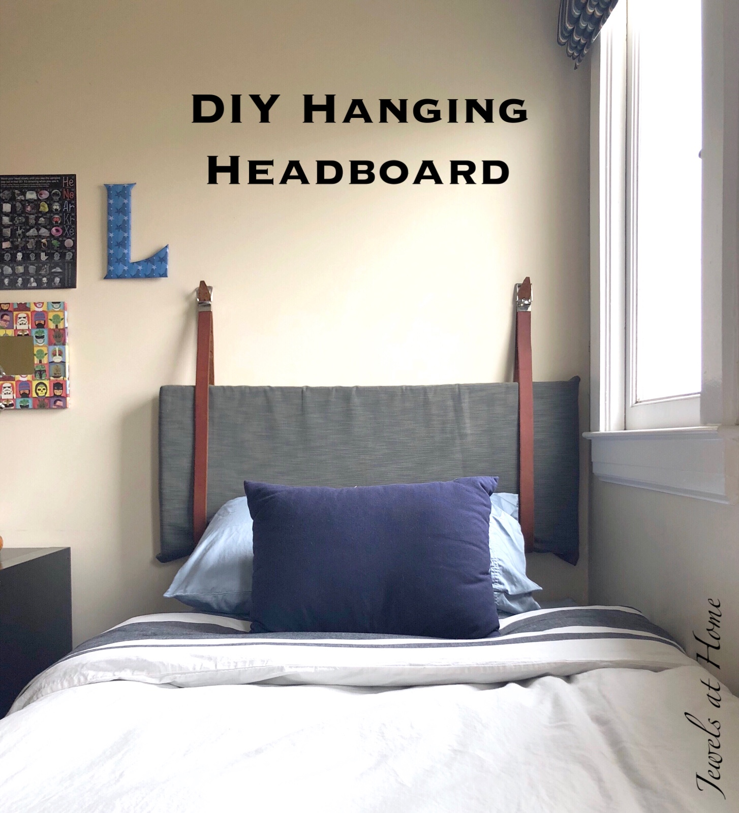A Pair and a Spare DIY also has a lovely version of this idea. And now for my own take on this easy and stylishly funky headboard! & DIY Hanging Pillow Headboard | Jewels at Home